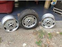 Jag XJ car wheels Three wheels, one with tyre
