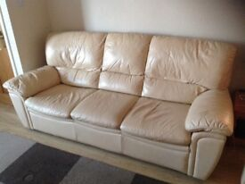 Cream Three Seater Leather Sofa