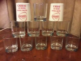 12 Grants Limited Edition triangular shaped Whisky glasses, Brand New. Gold Colour Grants Logo.