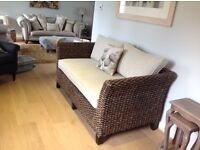 Sturdy Upholstered Cane Settee