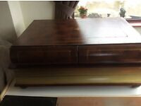 Antique book stack coffee table with two drawers