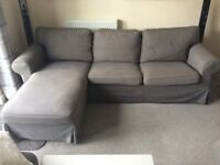 Three seat Ektorp sofa with Chaise Longue in very Good Condition, Bargain £170