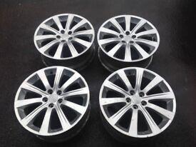 """Set of Subaru Alloy Wheels 17"""" PCD 5 X 100 Silver"""