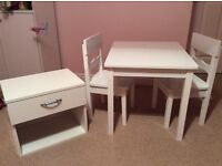 Child's White Wood Table & 2 Chairs & Bedside Cabinet