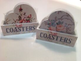 Sass and belle Jamie Dodgers coasters and rose heart coasters.