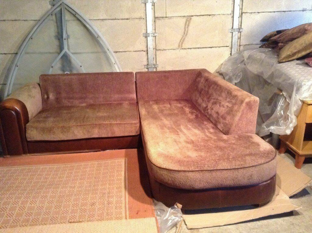 L Shaped Corner Sofa Cloth Leather Material Br3