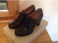 Ladies' Clarks black leather brogues in pristine condition, size 31/2