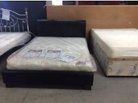 NEW Double brown leather bed frame