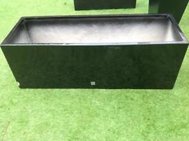 Large 1.15m black gloss fibreglass trough