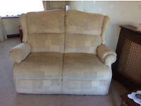 Three Piece Suite, 2 years old. 2 seater settee, 2 arm chairs (1 is a electric recliner).