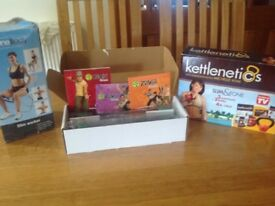 Zumba fitness weights with 3 Dvd's, Kettlenettics Plus DVD and Thigh Toner