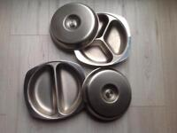 2 Stainless steel serving dishes
