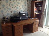 Office furniture - desk, bookcase x2, filing cabinet