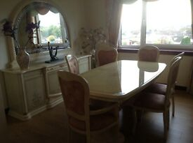 Dining suite,marble effect surface,allegorical style,£350.00