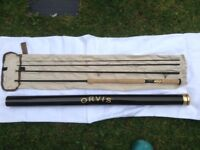 Pristine Orvis Helios Switch 11' 7wt fly rod with reel and line.