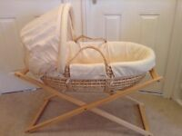 Mamas and Papas Zeddy and Parsnip Collection Moses Basket, Stand and Matress. Immaculate condition.
