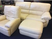Cream leather suite with recliner good clean condition