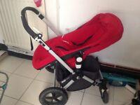 Red bugaboo chameleon pram/pushchair combo