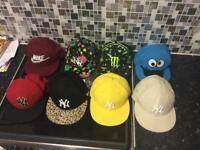 Bundle of 8 flat peak caps hats