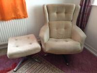 Retro Vintage Mid Century 1960s Swivel Armchair Knoll G Plan Danish Egg Chair