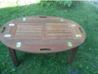 Teak butlers tables 92cm x 62 x 40 cm high very good condition