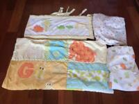 Cot Bed bedding set & curtains