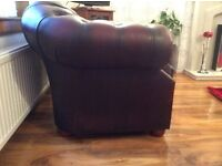 Now sold......Chesterfield suite. Three seater, winged chair, club chair. Burg any.