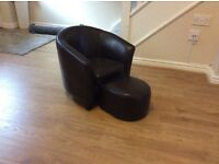 Childrens brown tub chair with footstool