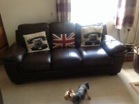 3 seater & 2 seater sofa brown leather