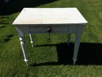 Vintage Table small with Single Drawer, Solid Wood, distressed look with chalk paint. £25