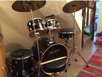 9 piece drum set, with seat, + drum pad silencers, immaculate condition,