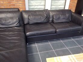 Black Leather chaise end sofa 2 piece