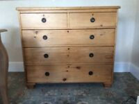 Stripped pine chest of drawers