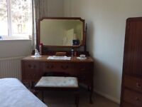 Mahogany bedroom furniture which includes wardrobe, dressing table, tall boy and chair