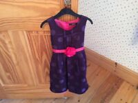 Purple and pink party dress, frilly petticoat, 4-5, excellent condition