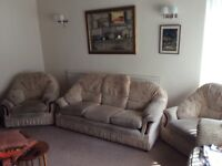 Very comfortable 3-seater sofa and 2 arm chairs,
