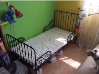IKEA child bed (kids bed) extendable, black, mattress included