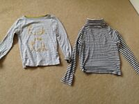 Mini Boden - 2 girls long sleeve tops, age 5-6 and 6-7