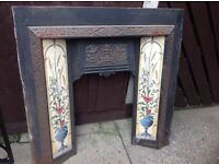 Cast iron tiled fireplace insert good condition all tiles intact free delivery