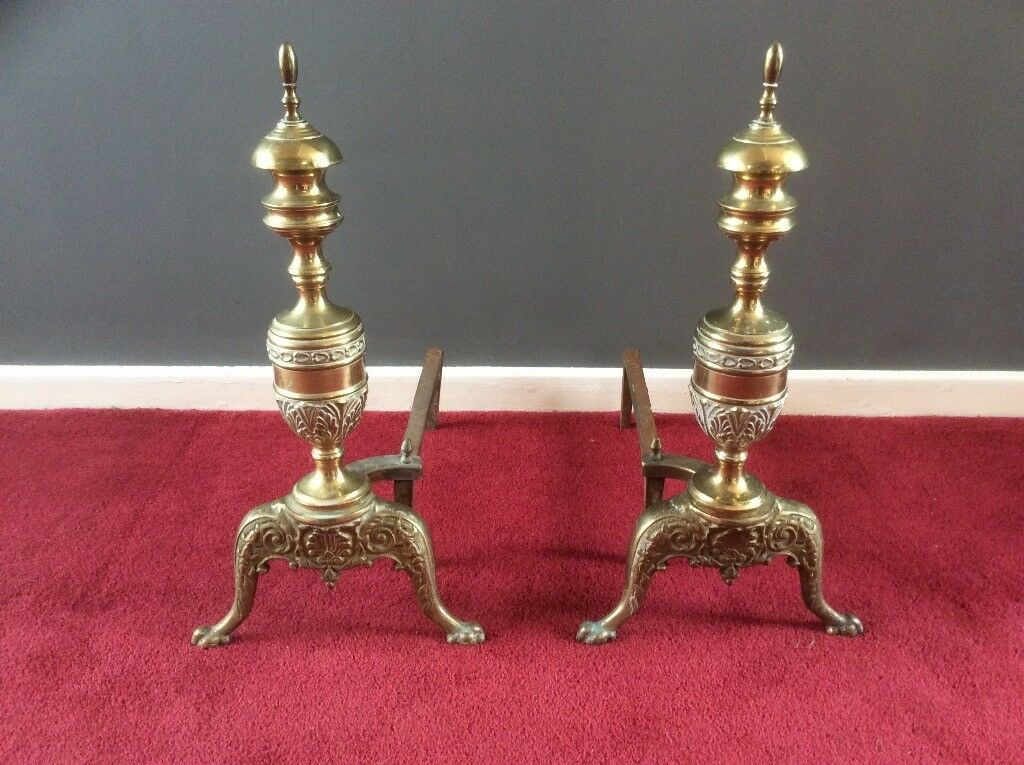 Large Antique Brass Fire Dogs