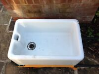 Butlers/Belfast Sink White. - good condition. Ideal garden patio planter or kitchen/utility sink.