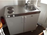 Whirlpool UNIT for STUDIO Flat, contains. integrated Sink, Hob, Fridge , storage cupboard