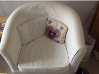 IKEA tub chair with white loose cover