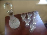 Port/Sherry decanter and 6 Cristal glasses