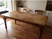 Antique pine solid wood dining table, 6 chairs & John Lewis cushions