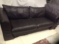 Chocolate brown three seater leather sofa (DFS)