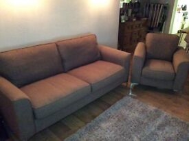 3 seater sofa and armchair. Light brown, chrome feet. Very comfortable and great condition.