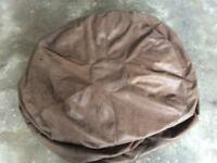 Large brown leather beanbag