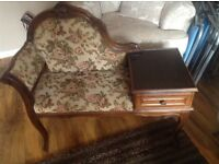 Chaise Telephone Table Shabby Chic