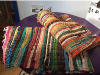 Two colourful rag rugs